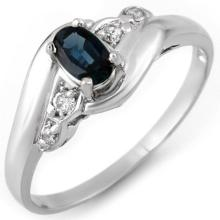 Genuine 0.42 ctw Blue Sapphire & Diamond Ring 14K White Gold - 11145 -#18M7G