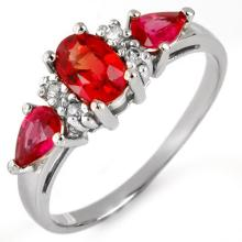 Genuine 1.33 ctw Red Sapphire & Diamond Ring 10K White Gold - 11399 -#17P7X
