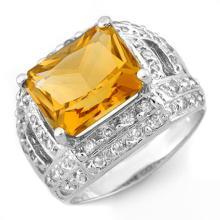 Natural 5.0 ctw Citrine & Diamond Ring 14K White Gold - 10374 -#65X8Y