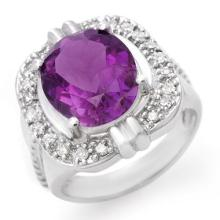 Genuine 4.78 ctw Amethyst & Diamond Ring 14K White Gold - 10353 -#64W2K