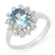 Natural 1.51 ctw Blue Topaz & Diamond Ring 10K White Gold - 12490 -#20W5K