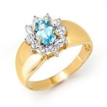 Genuine 0.50 ctw Blue Topaz Anniversary Ring 10K Yellow Gold - 12669 -#14N3F