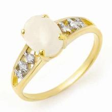 Natural 0.95 ctw Opal & Diamond Anniversary Ring 10K Yellow Gold - 13178 -#17R2H
