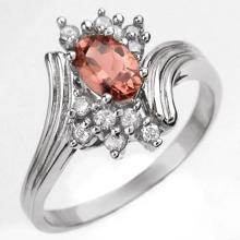 Natural 0.80 ctw Pink Tourmaline & Diamond Ring 10K White Gold - 10004 -#17R7H