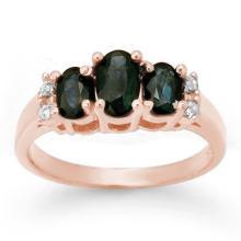 Genuine 1.33 ctw Blue Sapphire & Diamond Ring 14K White Gold - 14003 -#26T8Z