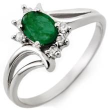 Genuine 0.50 ctw Emerald & Diamond Ring 14K White Gold - 10526-#21T3Z