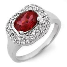 Genuine 1.90 ctw Rubellite & Diamond Ring 14K White Gold - 10162-#60W2K