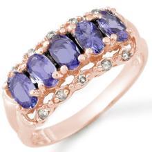 Genuine 1.80 ctw Tanzanite & Diamond Ring 14K Rose Gold - 10678-#34P5X
