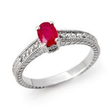 Genuine 1.01 ctw Ruby & Diamond Ring 18K White Gold - 13786-#36G2R