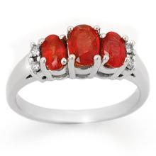 Natural 1.29 ctw Red Sapphire & Diamond Ring 10K White Gold - 10731-#21P2X