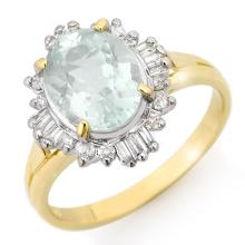 Genuine 2.53 ctw Aquamarine & Diamond Ring 10K Yellow Gold - 14460-#36H8W