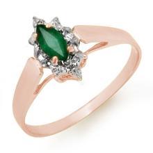 Genuine 0.25 ctw Emerald Ring 18K Rose Gold - 12906-#16X7Y