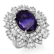 Genuine 13.25 ctw Tanzanite & Diamond Ring 18K White Gold - 13426-#549W2K