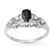 Natural 0.57 ctw Blue Sapphire & Diamond Ring 10K White Gold - 12643-#13K5T