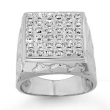 Genuine 1.0 ctw Diamond Men's Ring 14K White Gold - 13954-#137X7Y