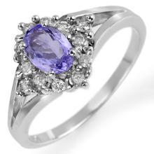 Genuine 0.95 ctw Tanzanite & Diamond Ring 10K White Gold - 10472-#28P7X