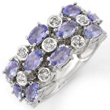 Genuine 2.20 ctw Tanzanite & Diamond Ring 18K White Gold - 11248-#83K2T