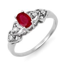 Genuine 0.57 ctw Ruby & Diamond Ring 18K White Gold - 12596-#27X8Y