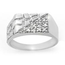 Natural 0.15 ctw Diamond Men's Ring 18K White Gold - 13247-#42Z9P