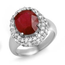 Genuine 5.0 ctw Ruby & Diamond Ring 18K White Gold - 14228-#101R2H
