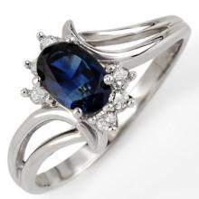 Natural 0.70 ctw Blue Sapphire & Diamond Ring 10K White Gold - 10447-#15K2T
