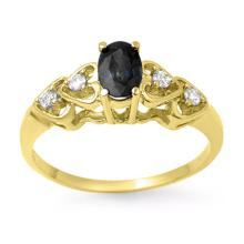 Genuine 0.57 ctw Blue Sapphire & Diamond Ring 10K Yellow Gold - 13742-#13Z5P