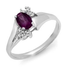 Genuine 0.55 ctw Amethyst & Diamond Ring 18K White Gold - 12534-#25R2H