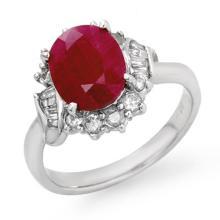 Genuine 3.31 ctw Ruby & Diamond Ring 18K White Gold - 14026-#79Z3P