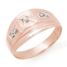 Genuine 0.12 ctw Diamond Men's Ring 10K Rose Gold - 13060-#20Y6V