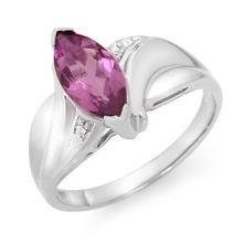 Natural 1.25 ctw Amethyst & Diamond Ring 18K White Gold - 12531-#28W3K