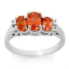 Natural 1.14 ctw Orange Sapphire & Diamond Ring 18K White Gold - 10637-#39P3X