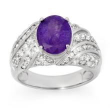 Genuine 6.25 ctw Tanzanite & Diamond Men's Ring 14K White Gold - 14542-#200A3N
