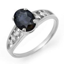 Genuine 1.60 ctw Blue Sapphire & Diamond Ring 14K White Gold - 13728-#20R2H