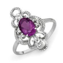 Genuine 0.80 ctw Amethyst & Diamond Ring 10K White Gold - 12568-#15K2T