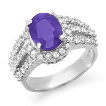 Natural 4.75 ctw Tanzanite & Diamond Ring 18K White Gold - 14345-#145W2K