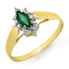 Natural 0.25 ctw Emerald Ring 10K Yellow Gold - 12905-#9R2H
