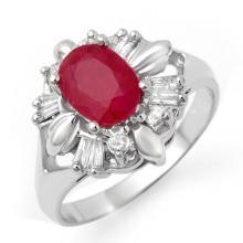 Genuine 2.45 ctw Ruby & Diamond Ring 14K White Gold - 13249-#51T2Z