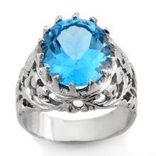 Genuine 10.0 ctw Blue Topaz Men's Ring 10K White Gold - 11747-#47P7X