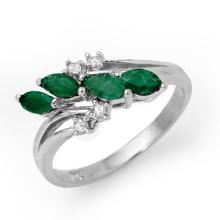 Genuine 0.40 ctw Emerald & Diamond Ring 14K White Gold - 13083-#25G8R