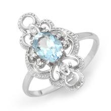 Genuine 0.83 ctw Blue Topaz & Diamond Ring 10K White Gold - 12467-#16V3A