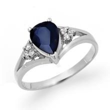 Genuine 1.81 ctw Blue Sapphire & Diamond Ring 10K White Gold - 12587-#21V3A
