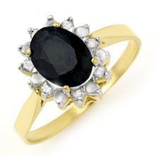 Genuine 1.91 ctw Blue Sapphire & Diamond Ring 10K Yellow Gold - 12299-#18Z5P