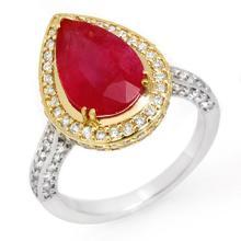 Natural 6.25 ctw Ruby & Diamond Ring 14K 2-Tone Gold - 10692-#105R3H