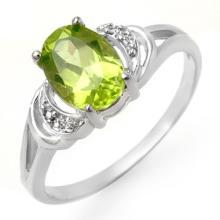 Genuine 1.55 ctw Peridot & Diamond Ring 18K White Gold - 13465-#20M7G