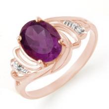 Natural 1.48 ctw Amethyst & Diamond Ring 14K Rose Gold - 12678-#21W7K