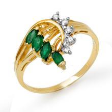 Genuine 0.55 ctw Emerald & Diamond Ring 10K Yellow Gold - 13019-#20K3T