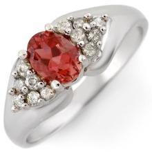 Genuine 0.90 ctw Pink Tourmaline & Diamond Ring 14K White Gold - 10811-#38N5F