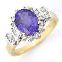 Genuine 2.90 ctw Tanzanite & Diamond Ring 14K Yellow Gold - 14447-#78M2G