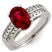 Genuine 2.50 ctw Rubellite & Diamond Ring 14K White Gold - 11669-#68Z2P