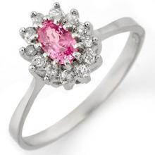 Natural 0.60 ctw Pink Sapphire & Diamond Ring 14K White Gold - 11286-#28R2H